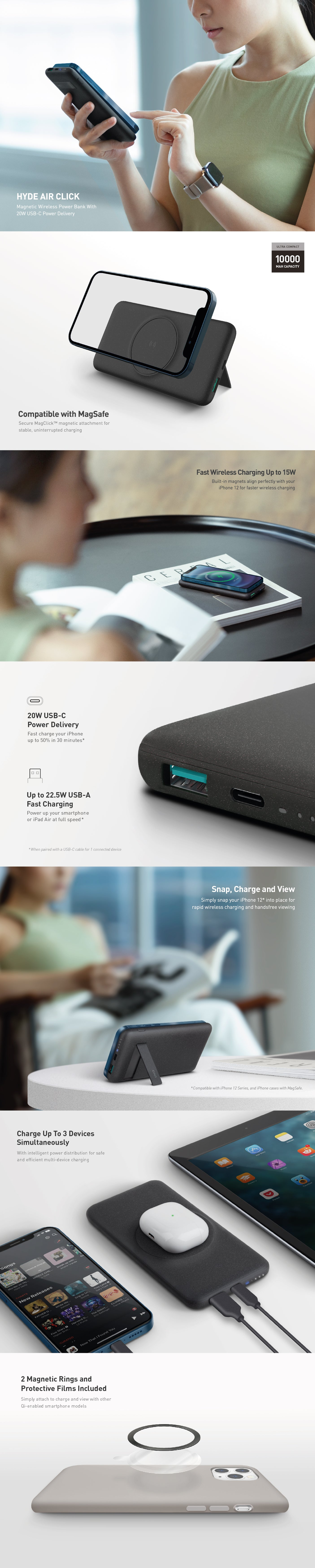 UNIQ Hyde Air Click Magnetic Wireless Power Bank with 20W USB-C Power Delivery