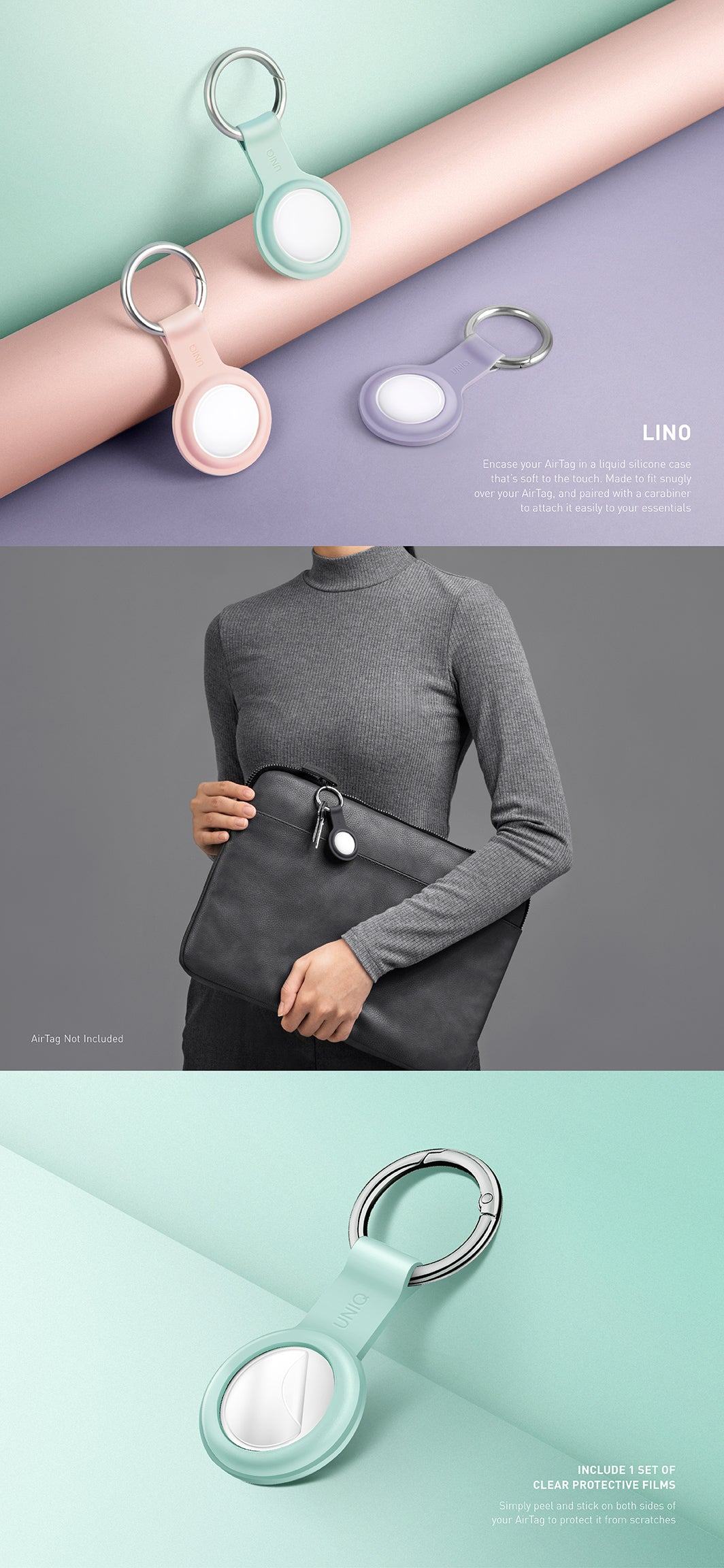UNIQ Liquid Silicone Keyring case for AirTag | Available as a 4-Pack or Pack of 4