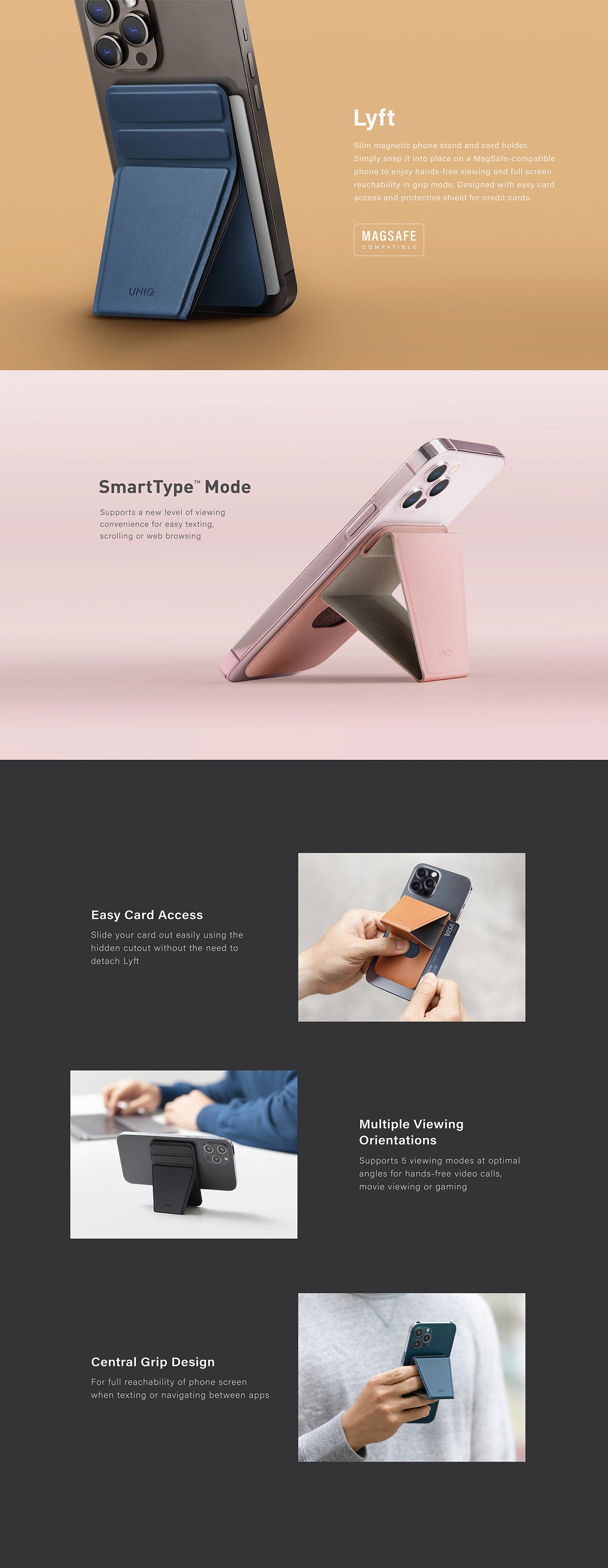 UNIQ Lyft Magnetic Stand/ Grip and Card Holder for iPhone 12 and 13. Compatible with MagSafe