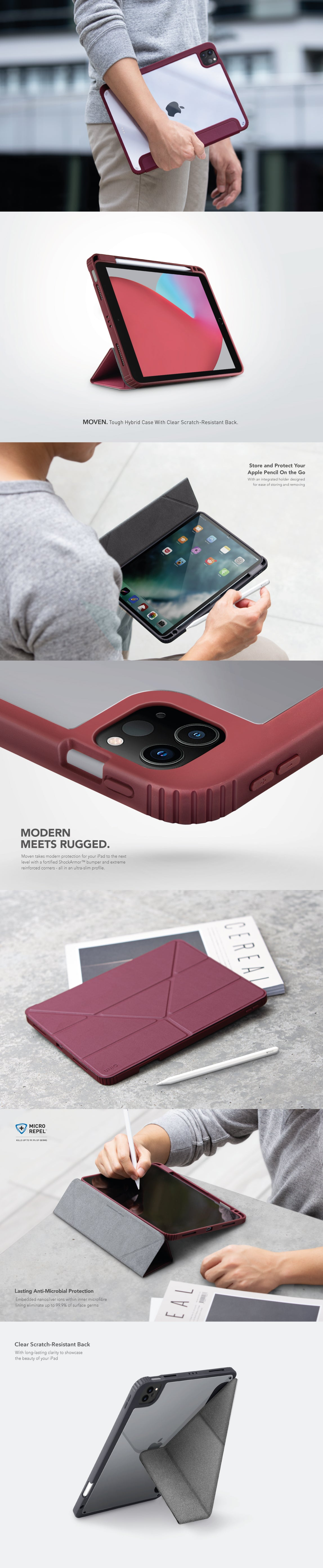 """UNIQ Moven Tough Rugged Case with Clear 2H Scratch-Resistant Back For Apple iPad 10.2"""" 8th Gen 2020"""