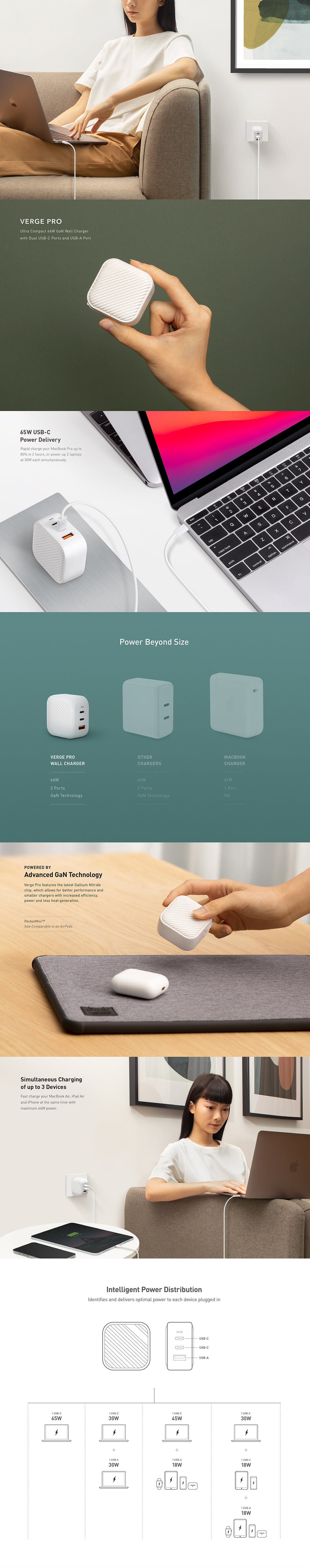 UNIQ Verge Pro 66W 3-Port GaN Wall Charger With Dual USB-C PD Ports and USB-A Port
