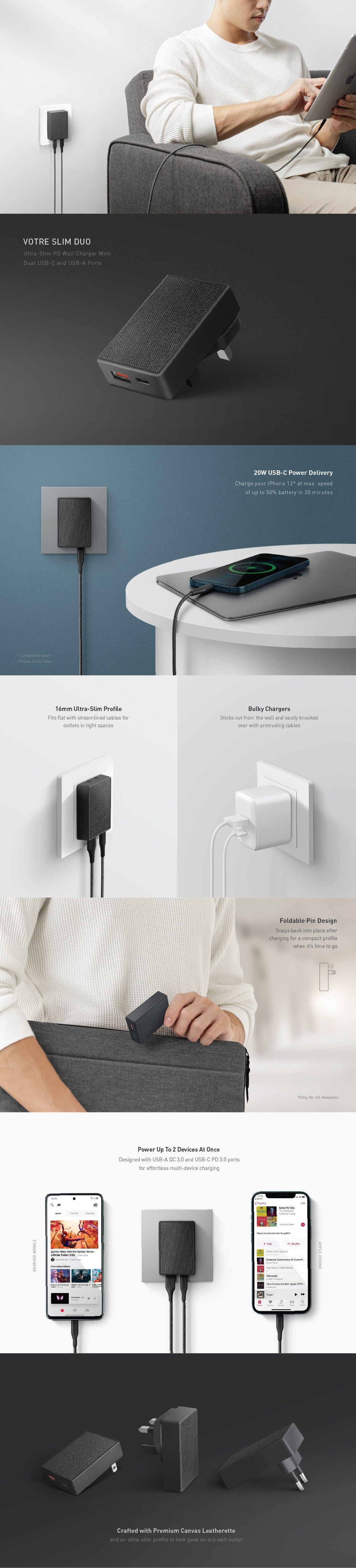 UNIQ Votre Slim Duo Dual-Port Wall Charger with 20W Power Delivery to fast charge iPhone 12