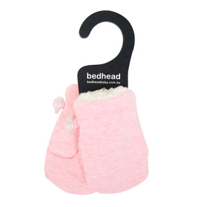Bedhead Fleecy Baby Mittens Baby Pink Marle