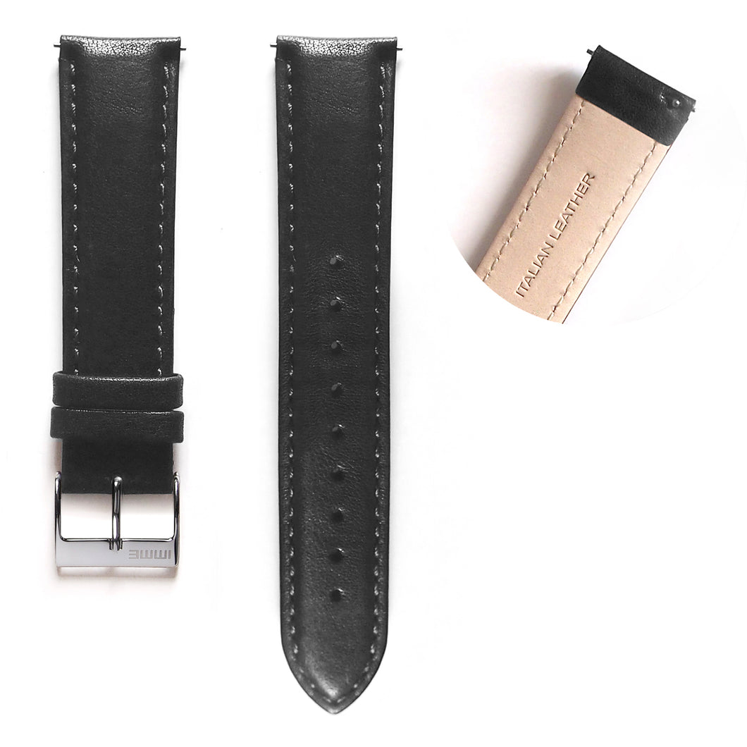 LS-001 - Leather watch strap | Black 20mm