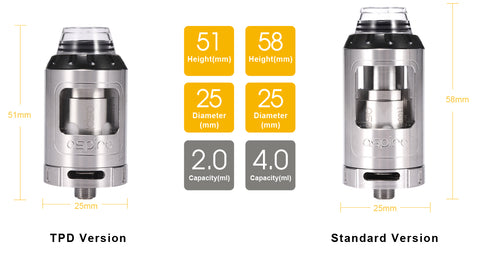 Aspire Athos tank dimensions for e-cigarette sub ohm mod vape supplies uk