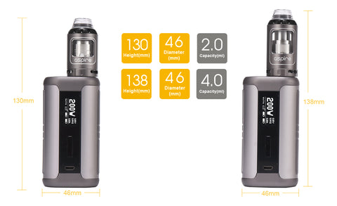 aspire speeder kit dimensions. 200Watt speeder mod with athos tank e-cigarette