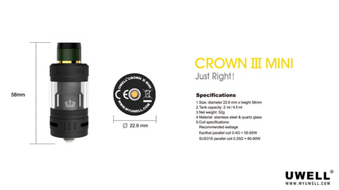 uwell crown 3 mini tank for ecigarette and eliquid