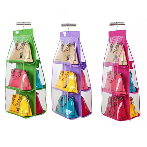 6 Pockets Handbag Hanging Storage Organizer Wardrobe Closet Bag Hanger