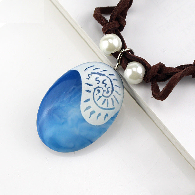 Moana Ocean Romance Rope Chain Necklaces Blue Stone Necklaces Princess Necklace Key Ring Movie Figures Action Toys Gift Costume Props