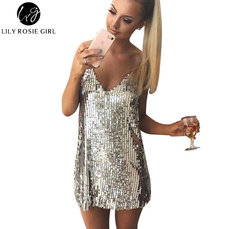 Lily®Deep V Neck Silver Sequin Backless Dress | StoreSixty.com