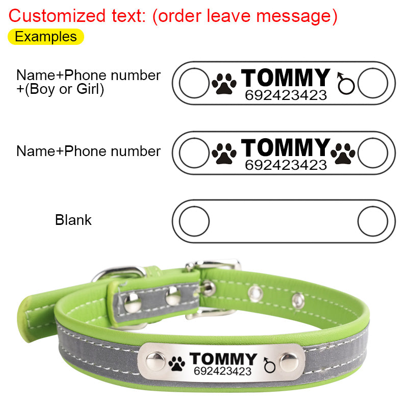 flow reflective leather personalized engraved dog collar