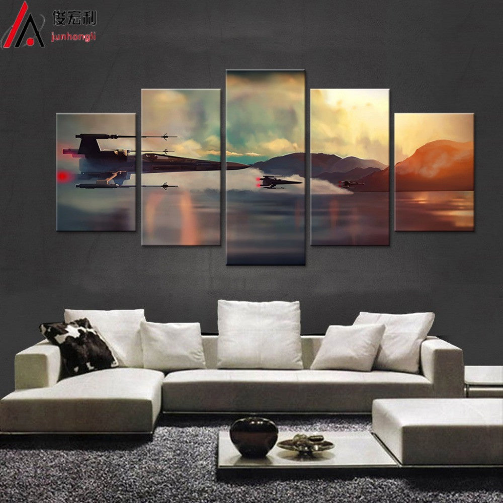 Modern art star wars movie 5 panel canvas art wall framed