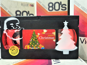 Merry Christmas Retro VHS Lamp With Art Work