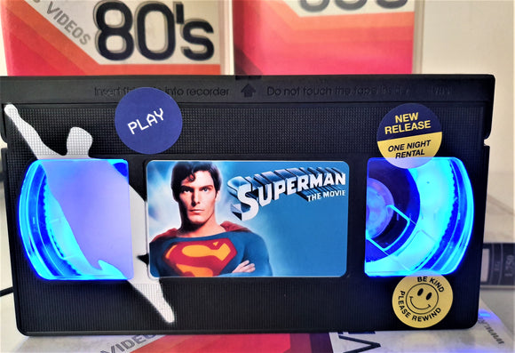Superman Retro VHS Lamp With Art Work