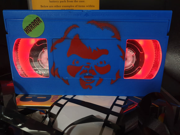 Child's Play Retro VHS Lamp with Chucky Art Work