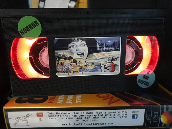 Friday the 13th Retro VHS Lamp with Art work