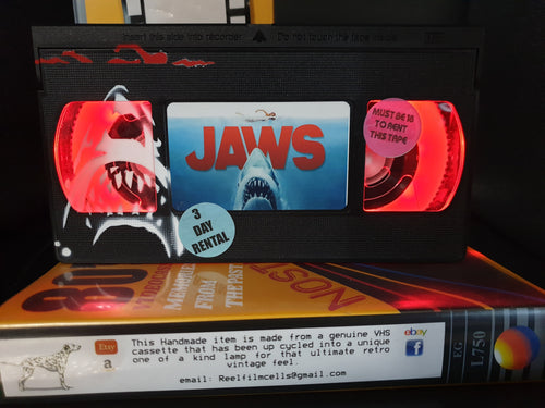 Jaws Retro VHS Lamp with Shark  and swimmer Art Work