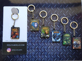 Mini PC Game Case Keyrings - buy 3 and get a free display stand