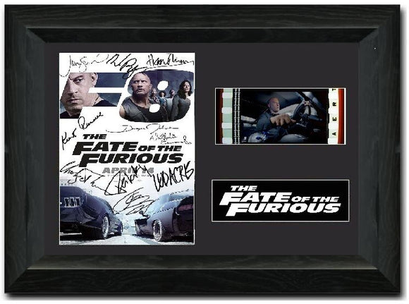 The Fate of the Furious S2 35mm Framed Film Cell Display Cast Signed
