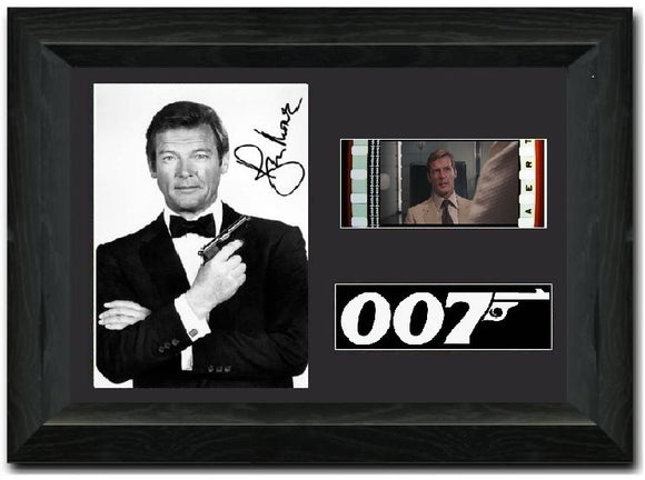 Roger Moore 35mm Framed Film Cell Display Signed