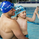 Father and son swim cap