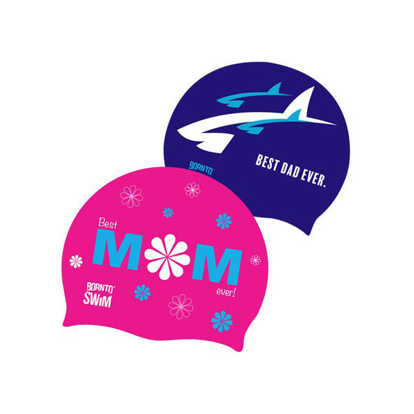 Swim caps for parents - Best Mom and Best Dad Ever