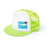 Neon green trucker cap for swimmers