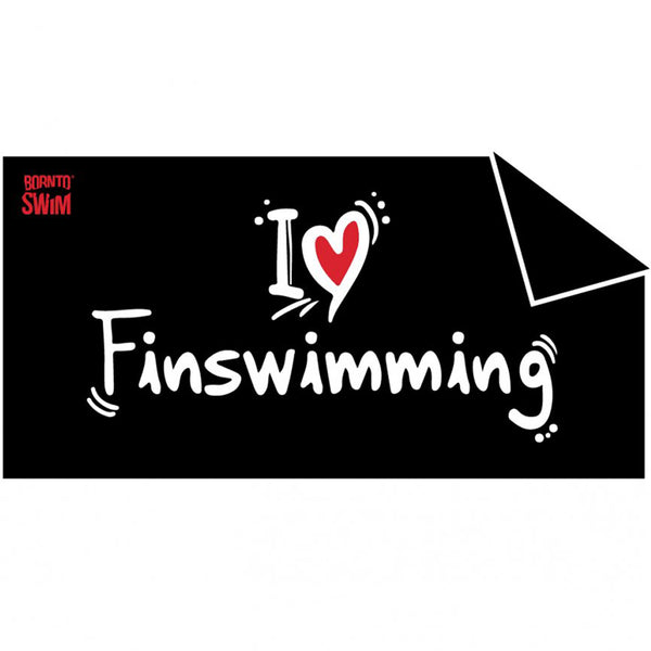 Black I Love Finswimming towel
