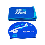 Best Dad Ever Swim Gear - Silicone Swim Cap + Microfiber Sports Towel