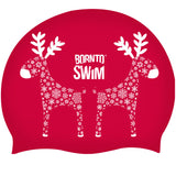 Red Christmas holiday swimming hat