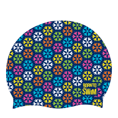 Christmas rainbow snowflake swimming cap
