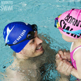 father and daughter swim cap