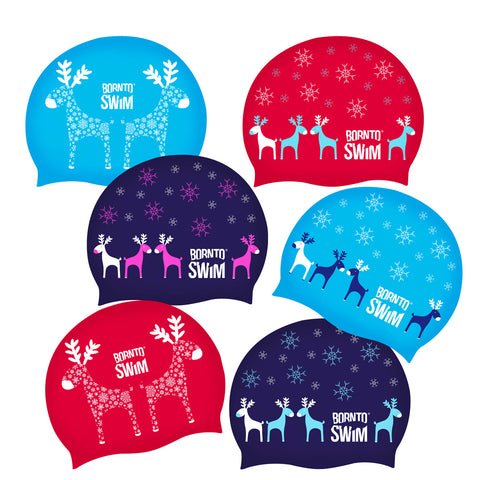 Ugly sweater holiday swimming hats