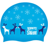 Christmas characters in swimming