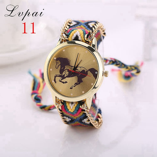 Womens Braided Gold Horse Watch