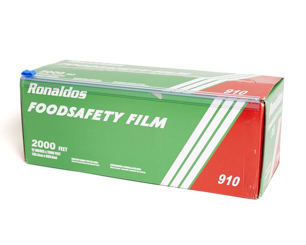 Ronaldos Food Safety Film, 12 inches x 2000ft Plastic Wrap, Commercial Grade, Used for Food Service Industry, Great for Sealing and Storage, Easy to Use Slide Cutter for Clean Cut Use