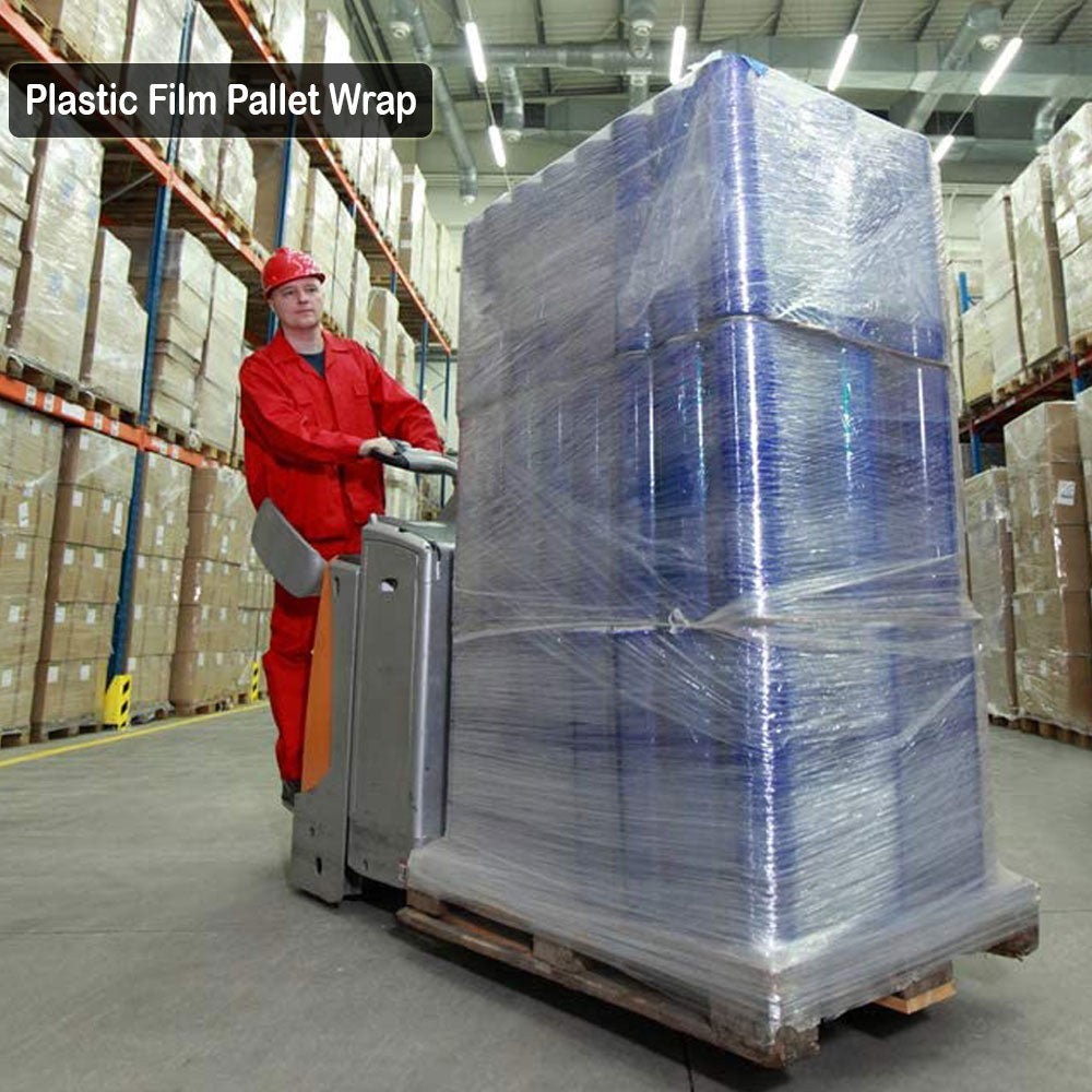 3 Inches X 1000 Feet Rolls With Handles, Plastic Film Pallet Shrink Wrap, 80 Gauge Thick, Clear, Industrial