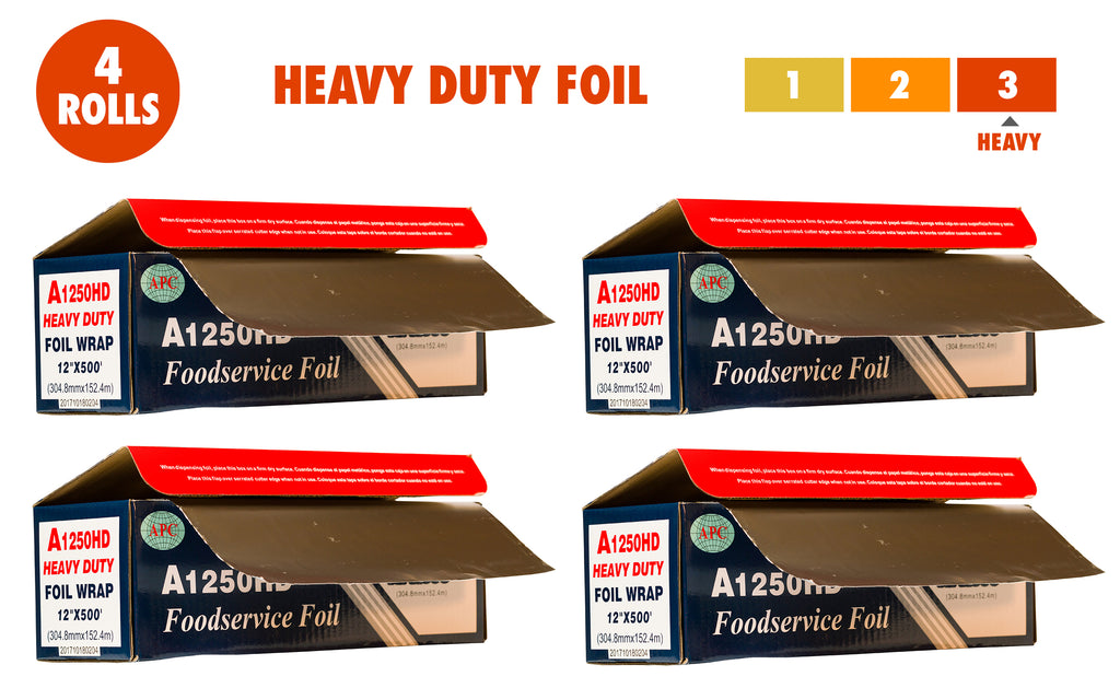 Heavy Duty Aluminum Foil, 12 Inches X 500 Feet, Commercial Industry Grade 80 Microns Thick, Food Service, Wrap, Bulk Super Durable
