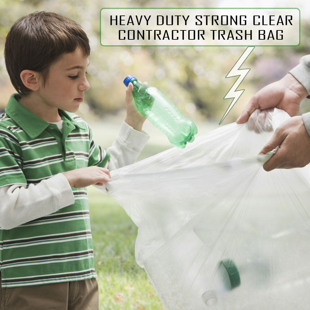 50-55 Gallon 1.5 MIL Strong Clear Trash Bags