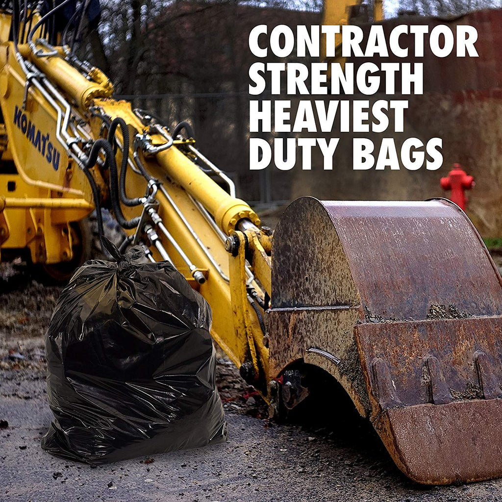 42 Gallon Roll of 100 Bags, 4 MIL Extra Heavy Duty Contractor Trash Bag