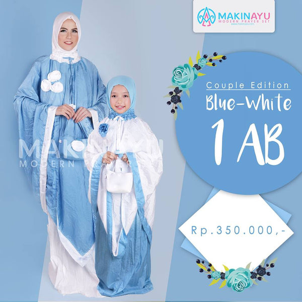 Mukena Couple Blue White 1AB