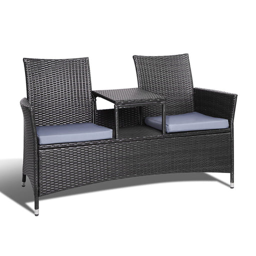 2 Seater Outdoor Wicker Rattan Furniture Bench - Black