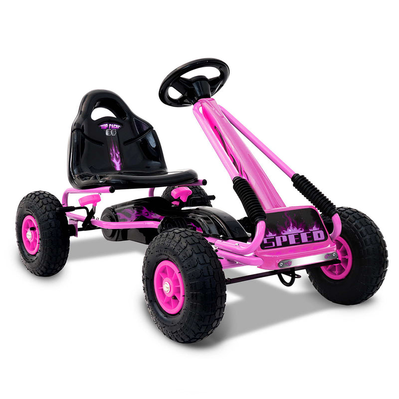 Kid's Pedal Go Kart Powered Shock Absorbing - Pink
