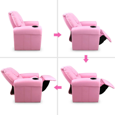 Kid's PU Leather Reclining Arm Chair - Pink