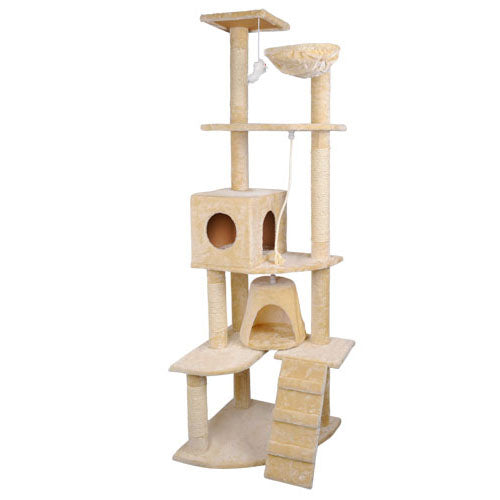 Multi Level Cat Scratching Poles Tree w/ Ladder Beige