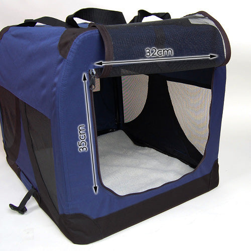Large Portable Soft Pet Dog Crate Cage Kennel Blue