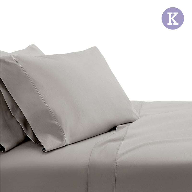 King Size 1000TC Bedsheet Set - Grey