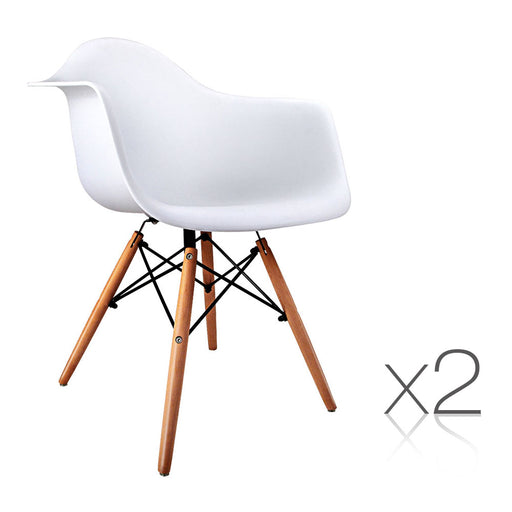 Set of 2 Beech Wood Dining Chair - White