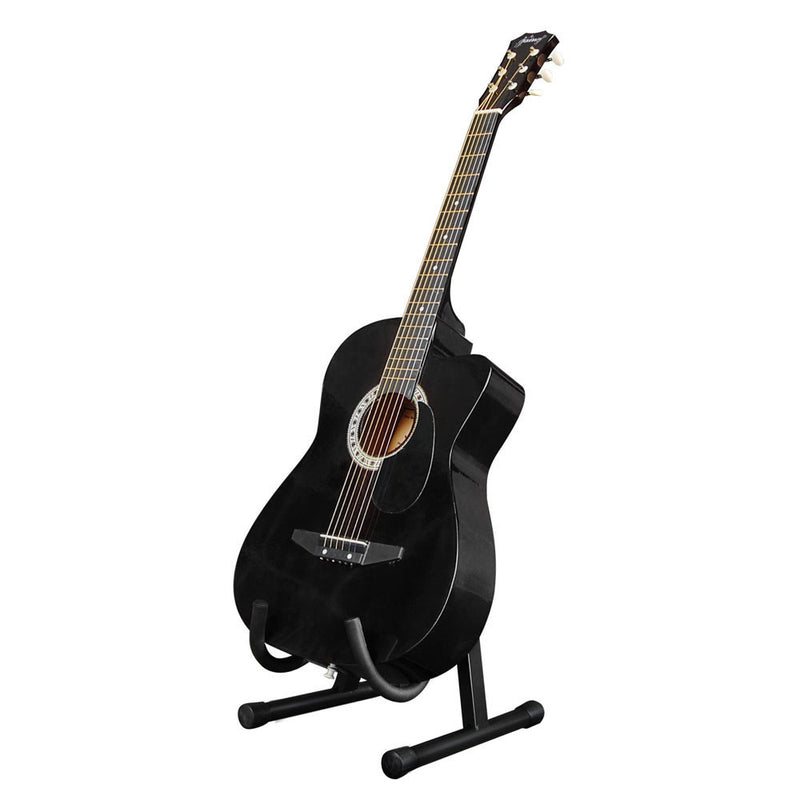 Acoustic Cutaway Guitar Black w/ Steel String Stand Strap