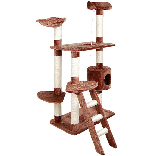 Multi Level Cat Scratching Poles Tree w/ Ladder Brown